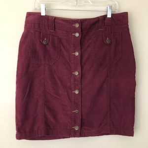 Free People maroon Corduroy button down skirt 12